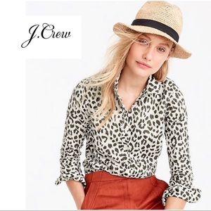 J Crew Cotton Linen Perfect Short In Leopard